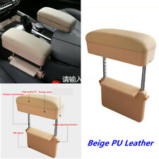 Beige PU Leather Car Seat Center Console Armrest Storage Box For Elbow Support