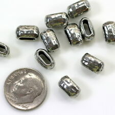 Hammertone Large Barrel Crimp Beads, 10mm, TierraCast Antiq. Pewter, 4 Pcs, 9240