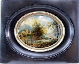 SPLENDIDE PAYSAGE FIXE SOUS VERRE ROMANTIQUE CADRE BOIS NOIRCI Ca 1840 MINIATURE