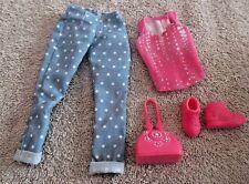 BARBIE DOLL CLOTHES - POLKA DOT CAPRI PANTS, PINK PRINT TOP, SHOES, PURSE