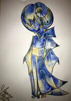 ORIGINAL Malerei A3 PAINTING japan china FRAU WOMEN asia blau blue contemporary