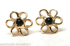 9ct Gold Black Onyx Stud Earrings Gift Boxed studs Made in UK