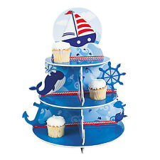 3 Tiered SAILING CUPCAKE HOLDER Kids Sail Ship Boat Ocean Birthday Party Decor