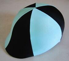 Horse Helmet Cover AUSTRALIAN MADE Pale blue & Black Choose your size