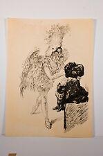 """-Paul Renouard gravure """"A Drury-Lane avant de paraître """" 1906 danseuse"""