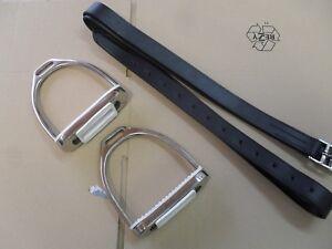 Steigbügel Edelstahl + Steigbügelriemen Leder im Set für Erwachsene