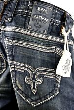 """$220 Mens Rock Revival Jeans """"Johnathan"""" Leather Inserts Straight Leg 33 X 33"""