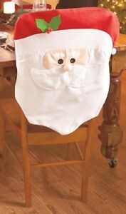 Set of 2 Santa Claus Face Christmas Kitchen Dining Room Chair Back Covers