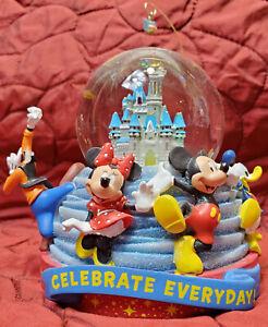 Disney Parks Celebrate Everyday Snow Globe Castle Mickey Minnie Goofy Minor Dama