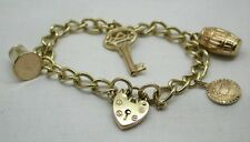 Lovely 9ct Gold Curb Link Bracelet With Heart Padlock & Four Charms
