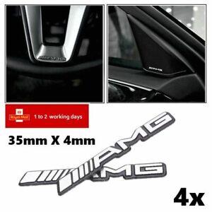 4x Alloy AMG Steering Wheel Speaker Sticker Badge Emblems Aluminium 3M