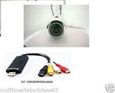 TELECAMERA CCD VIDEOSORVEGLIANZA REGISTRA SU PC USB 20 MT CAVO ALIMENTATORE