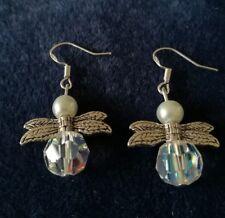 GUARDIAN ANGEL EARRINGS AURORA BOREALIS CRYSTAL, PEARLS, STERLING SILVER. NEW.