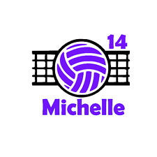 Volleyball Name & Number Decal Sticker for Car, Yeti, Travel Mug, Tumbler.