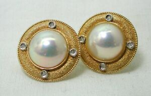 Beautiful Pair Of Large 14 carat Gold Mabe Pearl And Diamond Earrings