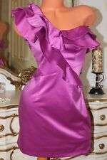 (Ref 22)  RIVER ISLAND Shiny Pink Faux Satin Ladies Fitted  Mini Dress size 12
