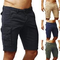 Summer Men Cotton Cargo Shorts Stretch Slim Fit Half Pants Combat Trousers UK