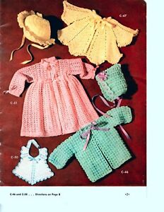 Vintage Crochet Pattern Baby Sweaters, Bonnets & Bib 1950's Baby Patterns