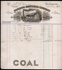 1893 New Bedford Ma -   Denison Brothers Co Coal -  Flour Grain Letter Head Rare