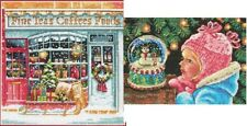 Lot of 2 Counted Cross Stitch Kits COFFEE SHOPPE~CHRISTMAS WISHES Dimensions