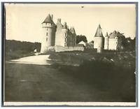 France, Château médiéval à identifier  Vintage silver print.  Tirage argentiqu