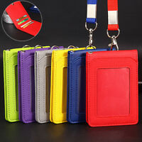 Leather Wallet Work Office ID Card Credit Card Badge Holder +Lanyard +5 Slots