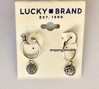 Lucky Brand Matte Silver Tone w/ Cut Crystals Hoop Earrings
