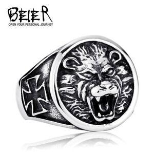 Ring For Men Viking Lion Amulet Cross Punk Top Quality Stainless Steel Biker