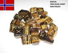 25pc Norse Tiger Eye Gemstones Powerful Viking Rune Stones Set + Rune Chart