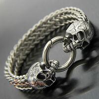 Silver 316L Stainless Steel Gothic Skull Cuban Franco Chain Men's Biker Bracelet