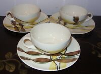 3 Blue Ridge Southern Potteries Festive Hand Painted Coffee Cup and Saucer Sets