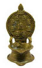 Old Vintage Unique Style Brass Engraved Goddess Diwali Worship Lamp. G53-403