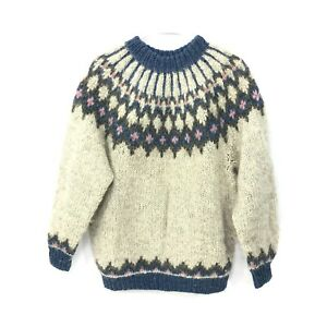 Alva Knit 100% Wool Made In Iceland Fair Isle Pullover Sweater Women's Size L