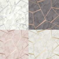 Fine Decor Fractal Geometric Marble Metallic Wallpaper Rose Gold Silver Charcoal