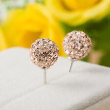 6mm Unisex Women Shamballa Premium Crystal Silver Ear Stud Earring Disco Ball