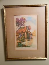 Pair Vintage Framed French Etchings Cottage Prints Pencil Signed