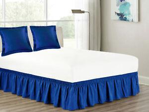 3-Pc Matching Euro Pillow Sham Pair Ruffled Bed Skirt Bundle Elastic Wraparound