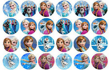 24 Disney Frozen 3cm Edible Wafer Party Cupcake Cake Decoration Toppers Images