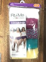 10.New Women's Fruit Of The Loom 5 Fit For Me Cotton Briefs Panties Plus Size 11