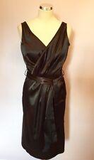 GEORGE BLACK SATIN  V NECKLINE PENCIL DRESS SIZE 10