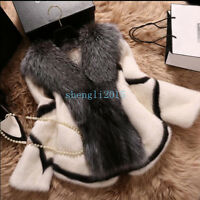 New Chic Jacket Women Mink Fur Coat Big Fox Fur Collar Warm Winter Short Outwear