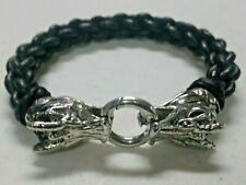 Genuine Leather bracelet twin Dragons metal brooch Handmade in Mexico 6 strips