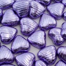 Foil Wrapped Milk Chocolate Hearts High Quality Wedding Party Table Favours Violet 150