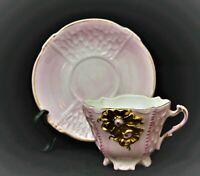 VINTAGE PORCELAIN DEMITASSE CUP AND SAUCER PINK GOLD