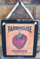 Fresh Strawberries Hanging Wall Sign Plaque Primitive Rustic Lodge Cabin Decor