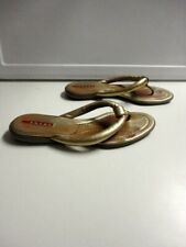 PRADA Gold Solid Leather Casual Slip On Flip Flop Thong Sandals Size 37 B5053