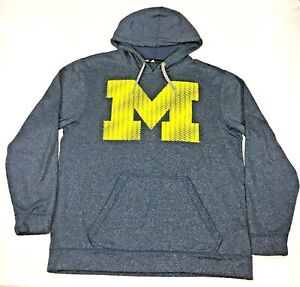 Michigan Wolverines Adidas Climawarm Gray Hooded Sweatshirt Size Large  L EUC