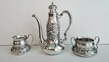 1891 Dominick & Haff Repousse Sterling 3pc Demitasse Set, Fine & Lovely!