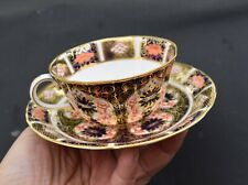 """Royal Crown Derby Old Imari Cup Saucer 7"""" Notched 6149 Staple Repair"""