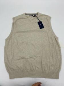 New Izod mens sweater vest sleeveless v-neck beige cotton Sz XL W741